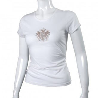 White Tee Shirt With Silver Speicher Logo