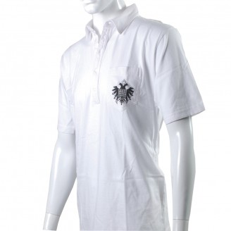 White Polo Shirt With Black Speicher Logo